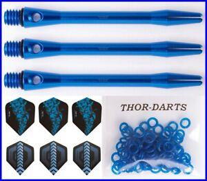 Aluminium Schaft alu Schäfte Dart blau schwarz alloy darts shafts 48mm medium