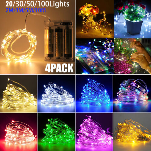 4Pack 2M-10M Christmas Fairy Light Battery Copper Wire Wedding Party String Lamp