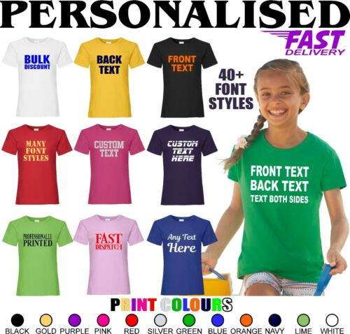 PERSONALISED PRINTED T-SHIRT ADD TEXT COLOUR GIRLS T-SHIRT PARTY KIDS TEE TOPS T