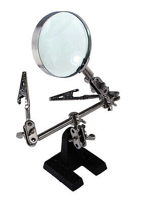 Hand Soldering Iron Stand Helping Hand vise Clamp Tool Magnifying Glass