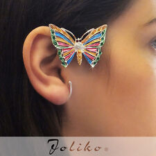 JoliKo Ohrklemme Ear cuff Regenbogen Schmetterling Rainbow Butterfly Elfen LINKS