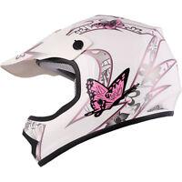 Youth & Kid's Pink/white Butterfly Dirt Bike Atv Motocross Helmet Mx S, M, L
