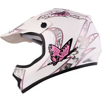 Youth & Kid's Pink/white Butterfly Dirt Bike Atv Motocross Helmet Mx S, M, L