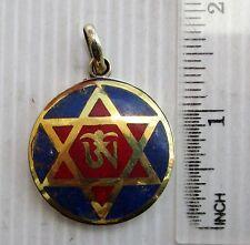 Old Tibet Tibetan Silver & Lapis Lazuli Buddhist Amulet Eternal Om & Hexagram