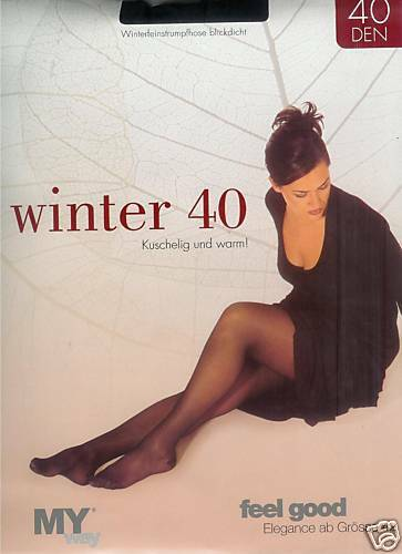 schwarz 46-48  *MY way* 40den 2 warme Strumpfhosen semiblickdicht