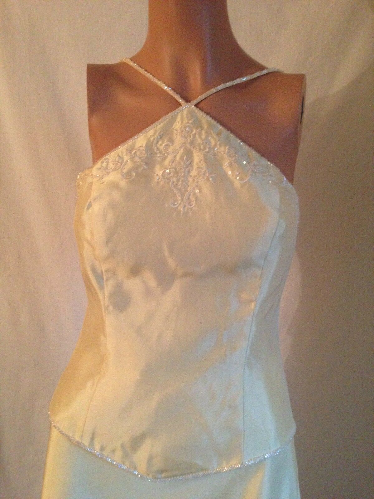 DAVID'S BRIDAL Gelb SLEEVELSS STRAP BEADED EVENING Kleid oben BLOUSE 4   S NEW