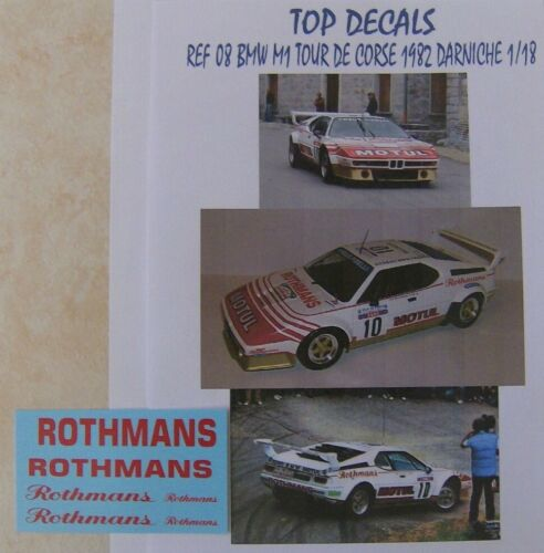 NEWS ADDITIF 1//18 BMW M1 TOUR DE CORSE 1982 BERNARD DARNICHE TOP DECALS