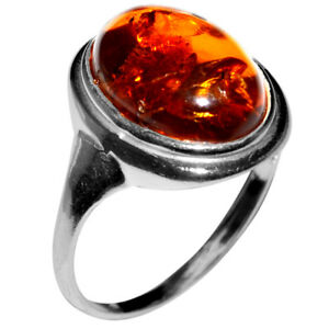 2-65g-Authentic-Baltic-Amber-925-Sterling-Silver-Ring-Jewelry-N-A7035