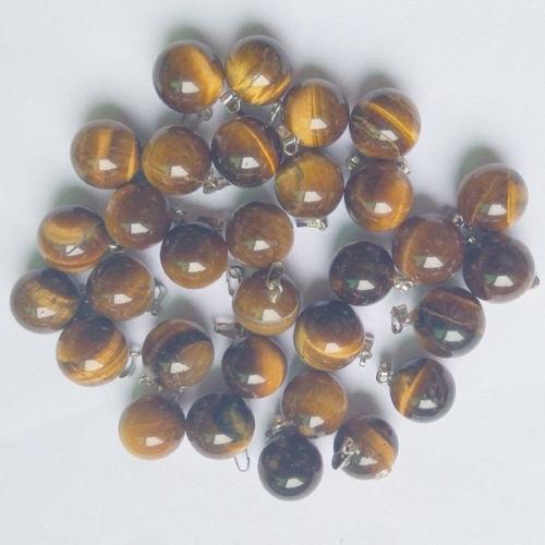 Fashion NATURAL TIGER EYE STONE Round Ball charms pendentifs perles 50pcs en gros