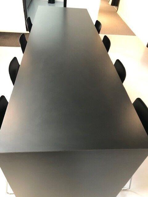 Spisebord m/stole, Laminat med sortlakeret kant, Højbord