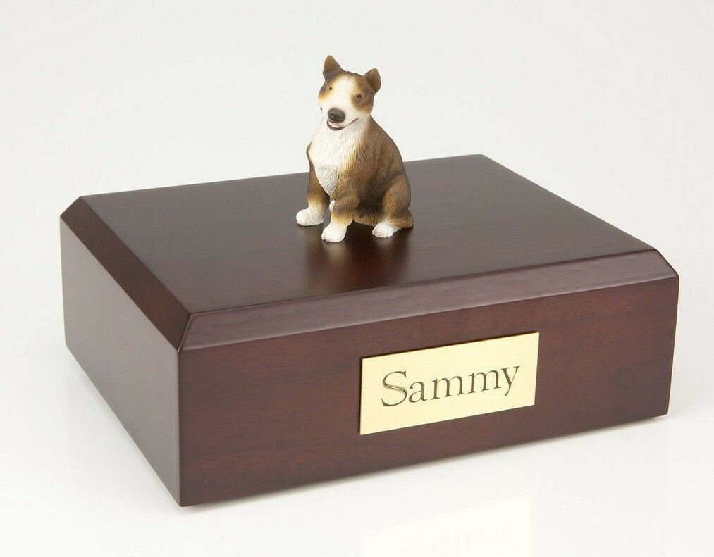 Bull Terrier, Brindle Pet Funeral Cremation Urn Avail in 3 Diff Colores & 4 Dimensiones