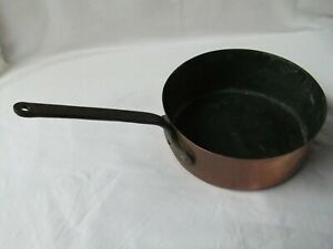 Pan-Antique-XIX-Copper-Tinned-Wrought-Iron-Grill-Pan-Pot-Fait-Brand