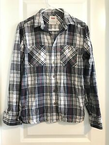 Levis-Mens-Shirt-Size-Small-Blue-Plaid-Flannel-Long-Sleeve-Button-Up