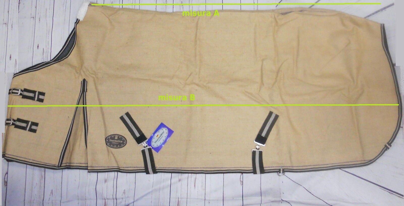 Coperta da box pesante invernale cavallo lana e cotone canvas 155 cm