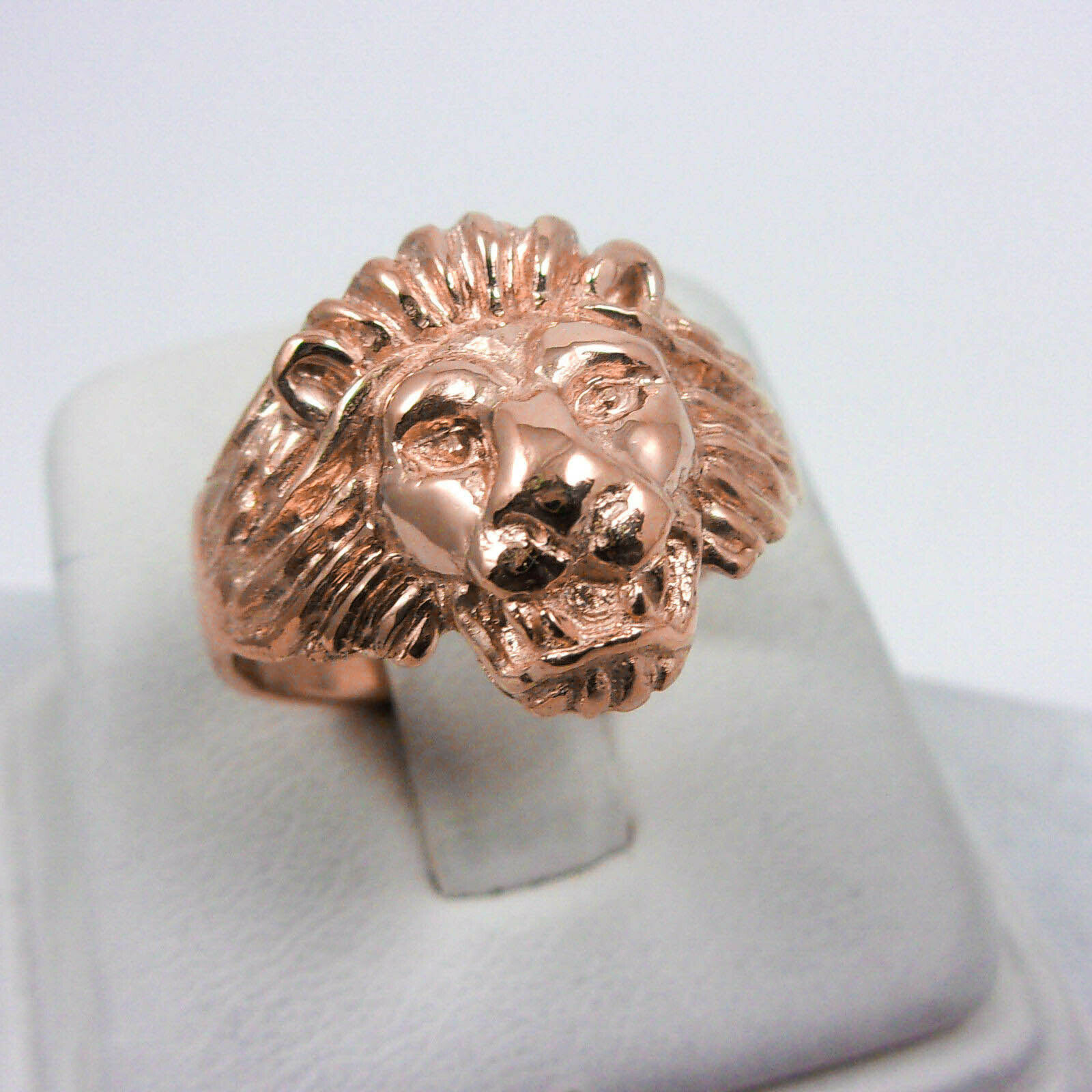 NEW Solid 10K pink gold Handcarved Large Heavy Mens Lion Head Ring Size 5 - 15