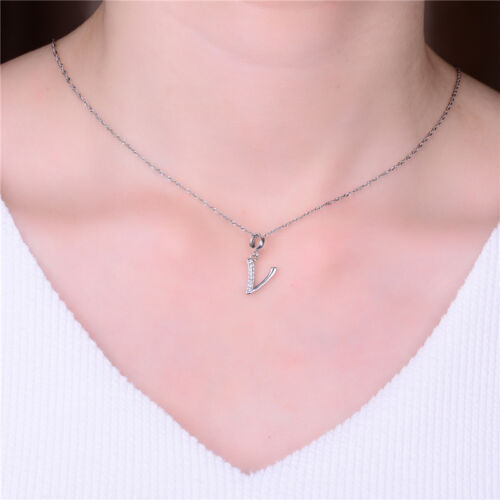 Alphabet Necklace Charms Silver Jewellery Letter /'V/' Initial Pendant Charm
