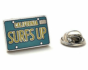 Tie Tack Surf Board Silver Enamel Pin Surfing Surfer Lapel Pin