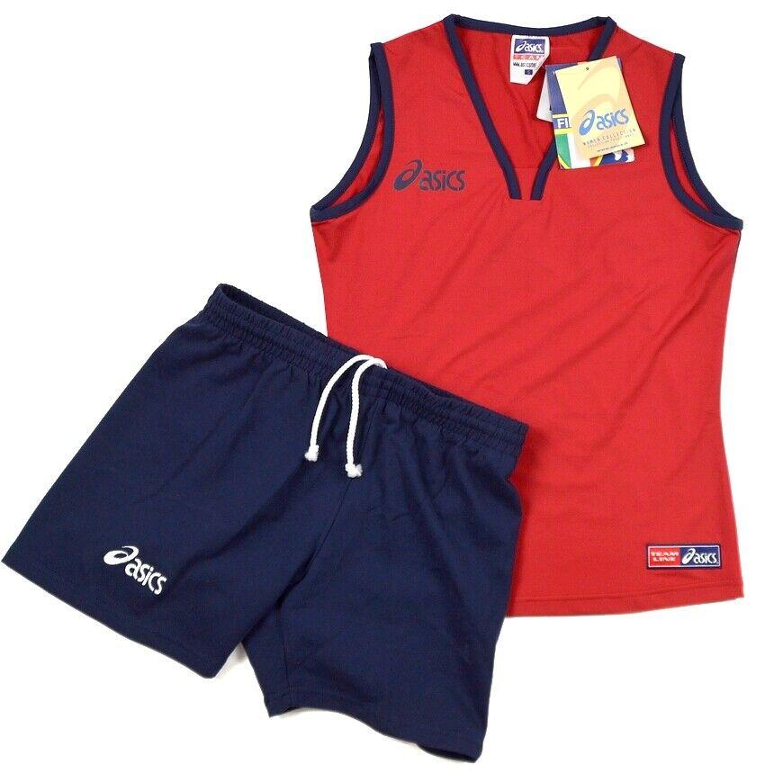 Asics Damen Sport Outfit Tank Top Shirt Shorts Hose kurz Trainingsanzug rot/blau