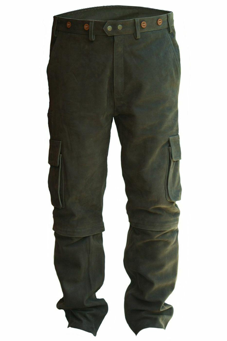 German Wear larga cargo caza Lederhose cazador pantalones caza pantalones caza verde 2-in-1 pantalones