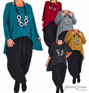 LAGENLOOK Shirt Pullover Tunika Überwurf  L-XL-XXL-XXXL 44 46 48 50 52 54 56 58