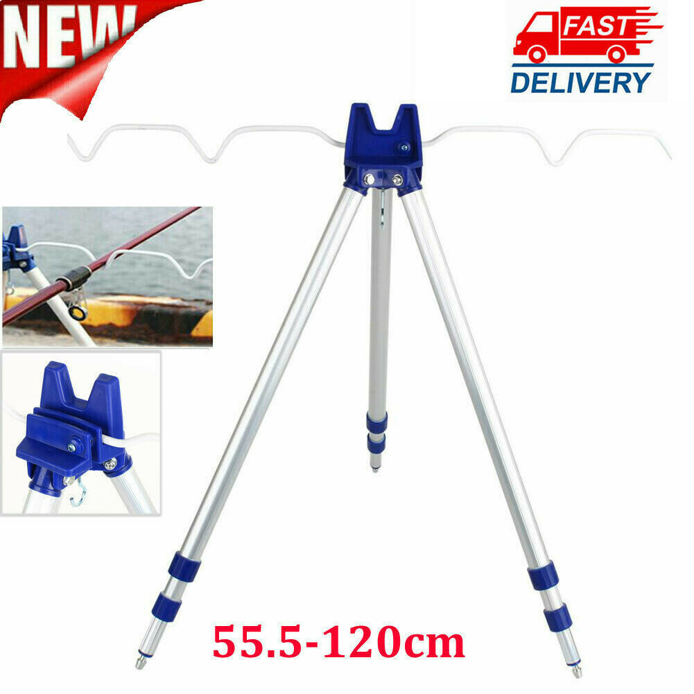 Aluminum Alloy Telescopic Fishing Tripod Holder Stand for Fishing Rod Silver-.DE