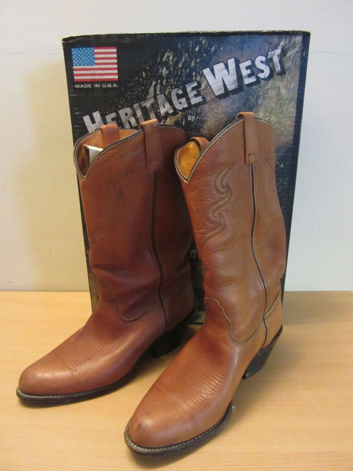 Heritage West Double H HH braun Leather Rock Mountan Mens Cowboy Stiefel 2112 10EE