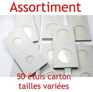 Assortiment-de-50-etuis-carton-autocollants-pour-pieces-de-collection-euro