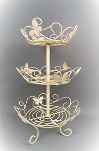 Cake Stand Crème WROUGHT IRON BUTTERFLY Détail 3 Tier Cake Stand