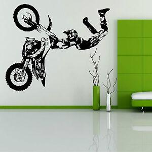 Motocross Sport MX Bikes Stunts Personalised Name Boys Wall Art Sticker
