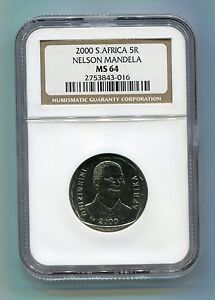 NGC-MS-64-South-Africa-Year-2000-5R-Nelson-Mandela-R5-Coin-Low-Population-ms64