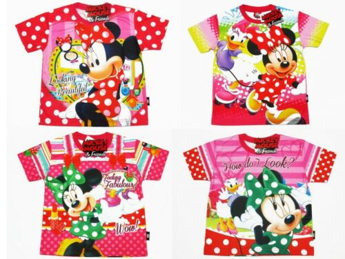Minnie Mouse Girl Polyester Pink T-Shirt Size 4-10 age 3-10 #1285,1292