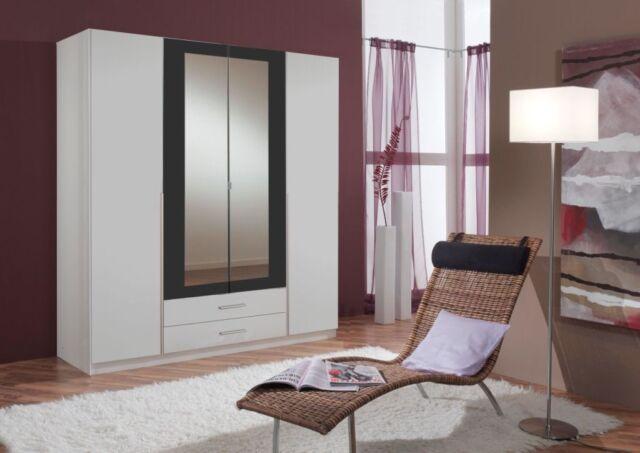 SlumberHaus German Skate 4 Door & 2 Drawers White Black & Mirror Door Wardrobe