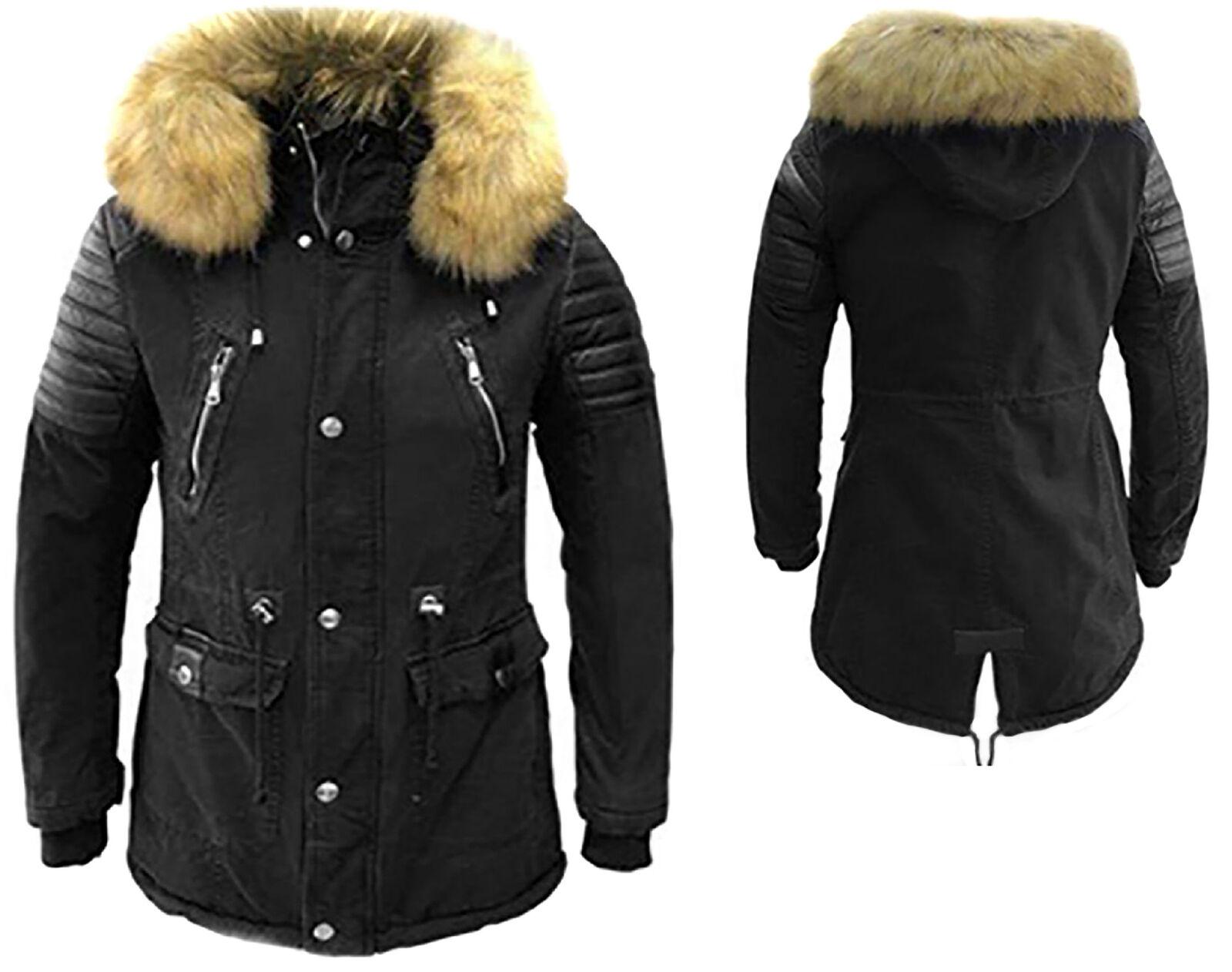X-FEEL Inverno cappotto Giacca Cappotto breve cappotto Inverno con cappuccio Parka Cappotto 88828 Pardo Nero af811b
