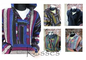 Details about Mexican Baja Hoodie Hippie Surfer Poncho Sweater Drug Rug  Pullover Jacket Unisex