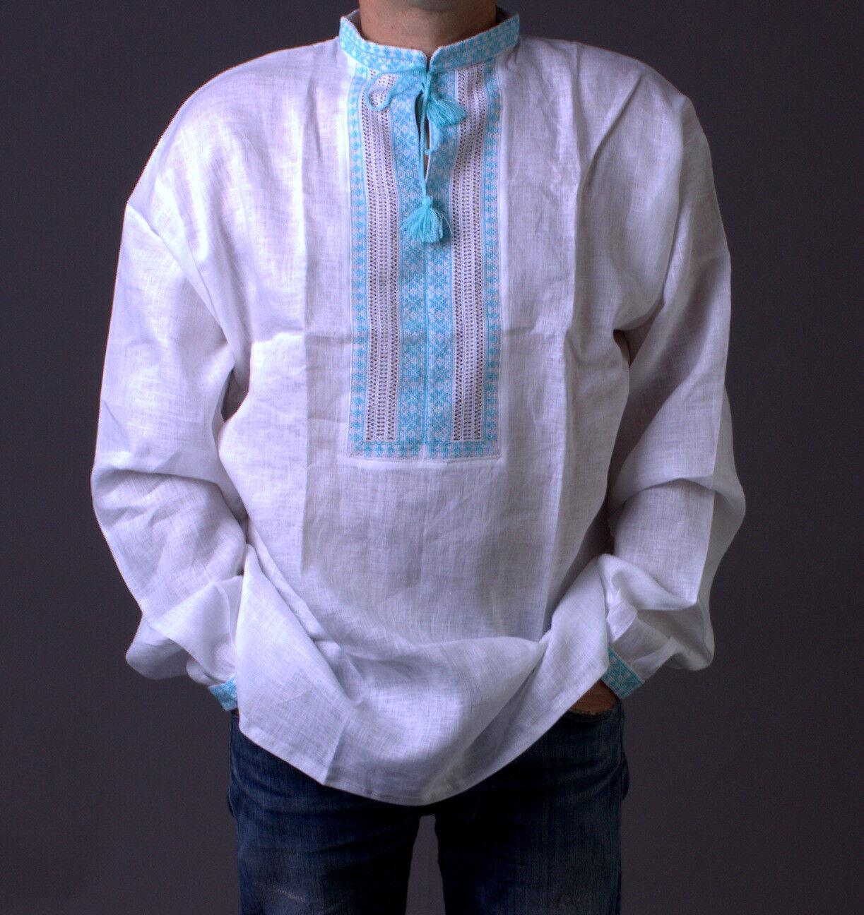 VYSHYVANKA Man Ukrainian Embroidered LINEN White turquoise SHIRT GIFT FOR HIM