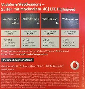 prepaid karte mit internet Websessions Vodafone D2 InterSim Karte Web Session Prepaid
