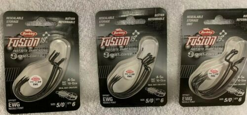 Berkley Fusion 19 5//0 Offset EWG Needle Point Fishing Hook Sharp Hooks Lot of 3