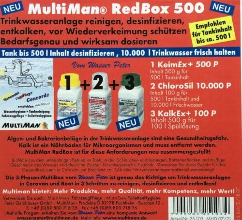 Multiman RED BOX 500 installation d/'eau potable traitement camping-car service