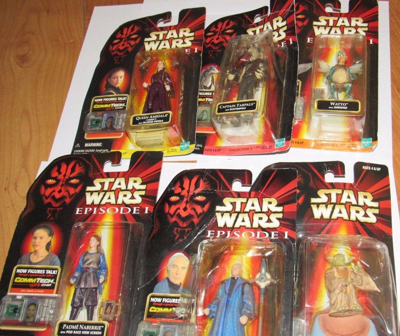 Hasbro Estrella Wars Watto, capitán Tarpals, Reina Amidala, Yoda, Chancelor VALORIUM