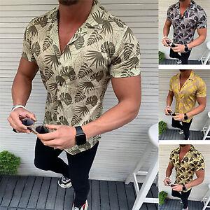 Men-039-s-Short-Sleeve-Shirt-Summer-Beachwear-T-shirt-Casual-Tee-Tops-Beach-Slim-Fit
