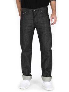 Nudie-Herren-Selvedge-Regular-Fit-Jeans-Hose-Straight-Sven-Dry-Black-Selvage