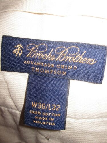 Brooks Brothers Advantage Chino Thompson Men Light Beige Casual Pant Sz 37 X 32