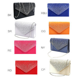 e46ccfe0d Image is loading Women-Rhinestone-Frosted-Clutch-Bag -Classic-Envelope-Shoulder-
