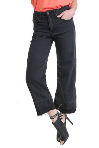 Umgee Women/'s Mid Rise Five Pocket Black Wide Leg Cropped Culotte Stretch Jeans