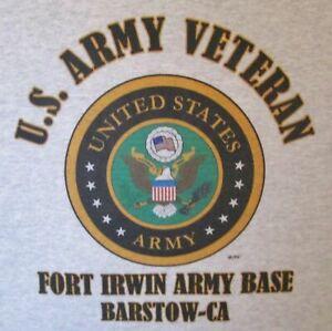 FORT IRWIN ARMY BASE * BARSTOW-CA  ARMY VETERAN LOGO SHIRT/SWEATSHIRT