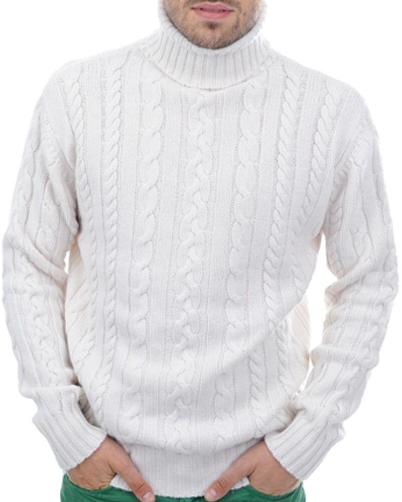 Balldiri 100% Collo Alto Alto Alto Trecce Pullover 10 fädig Bianco S 6bc772