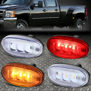 FOR 11-18 FORD SUPER DUTY DUALLY BED SIDE FENDER LED MARKER CAB LIGHT 4PCS CLEAR