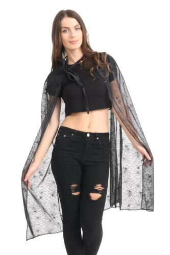 Ladies Spider Web Hooded Cape Skirt Halloween Zombie Fancy Dress Party Red Black