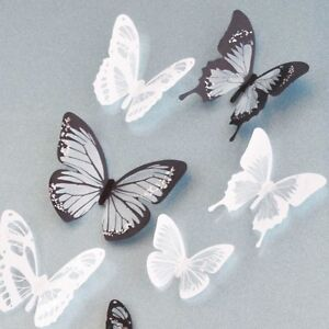 18pcs 3d black white butterfly crystal decor wall stickers decor wall decals ebay. Black Bedroom Furniture Sets. Home Design Ideas