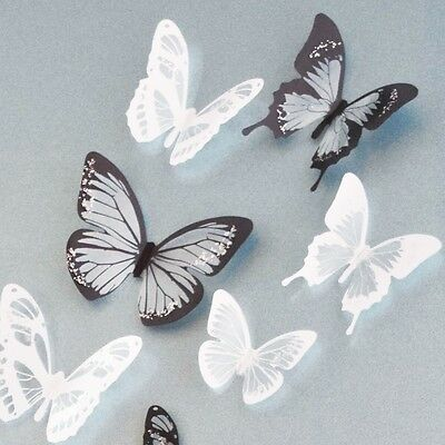 18pcs 3D Black/White Butterfly Crystal Decor Wall Stickers Decor Wall Decals